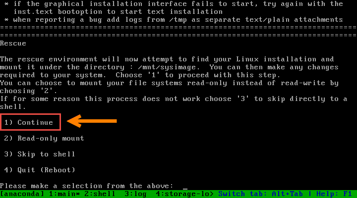 How to boot a system into rescue mode using ISO DVD (RHEL / CentOS 7)