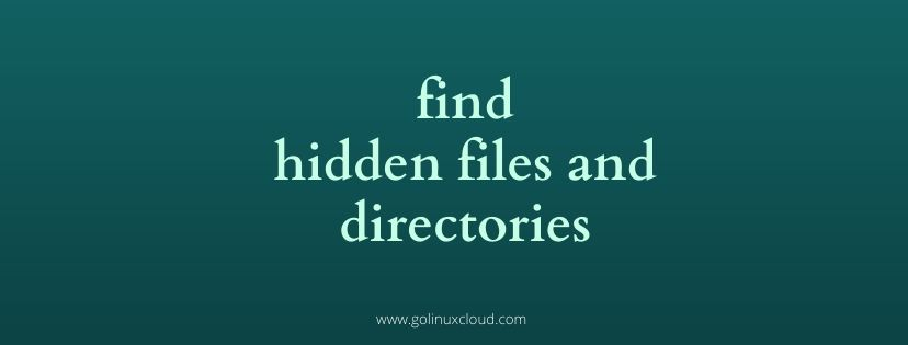 Linux find hidden files and folders with find command