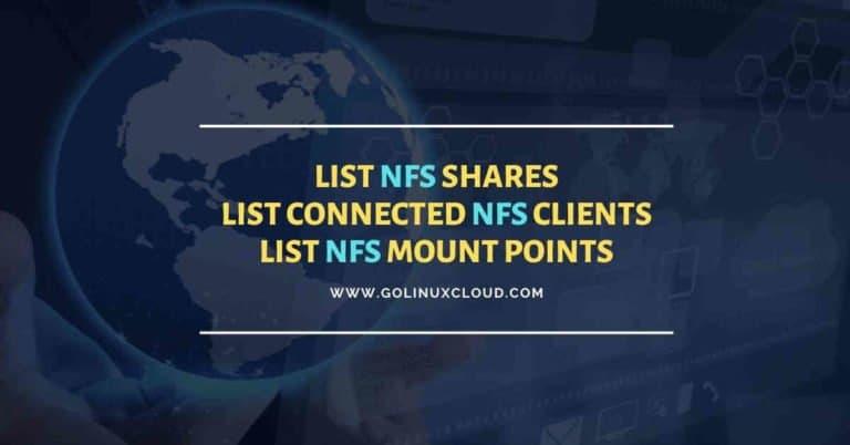 Show NFS shares | List NFS mount points | List NFS clients Linux