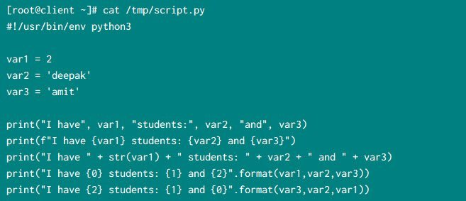 Print variables and strings in python using 4 different methods