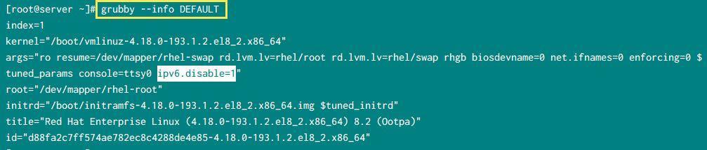 Disable IPv6 using GRUBBY