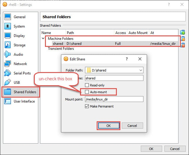 How to access VirtualBox shared folder at startup with systemd in Linux