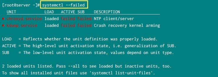 systemctl list failed services