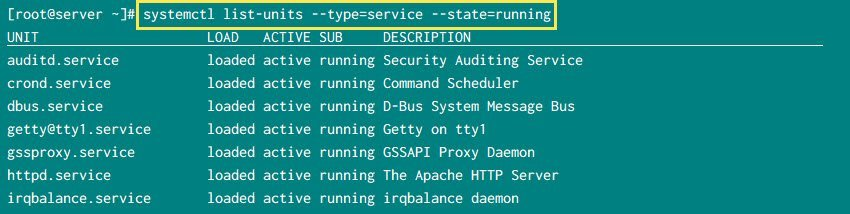 systemctl list running services