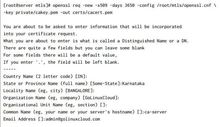 Setup & verify mutual TLS authentication (MTLS) with openssl