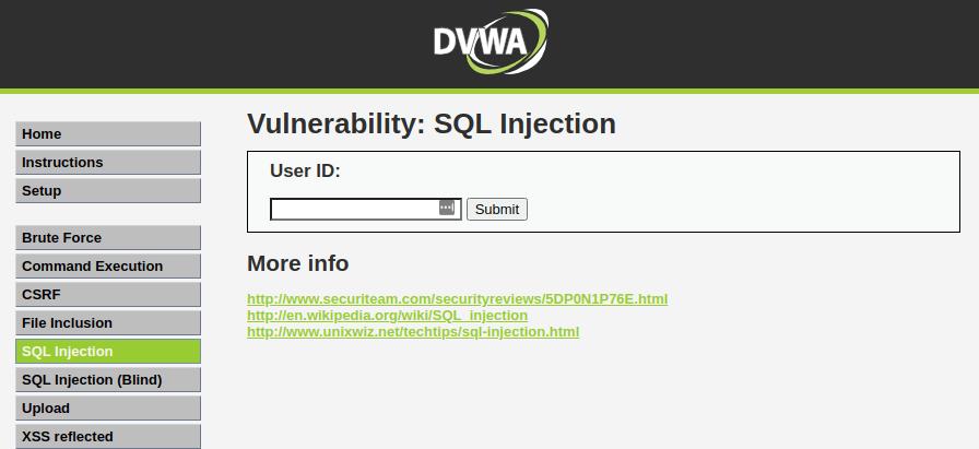 DVWA SQL Injection