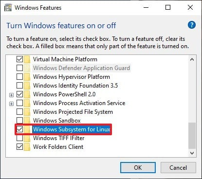 Enable Windows Subsystem for Linux Feature