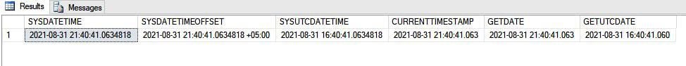 SQL Server Time Functions Sample Output 2