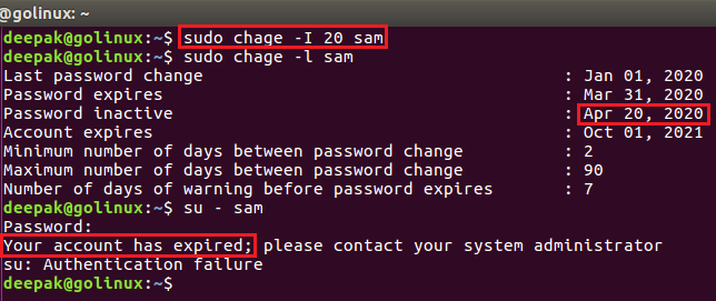chage command to set the password inactivity