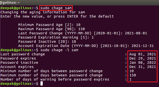 using chage command without any option