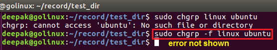 chgrp command to hide errors in output