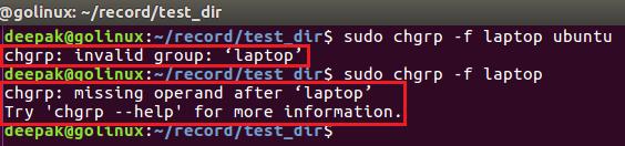 chgrp command to hide error message