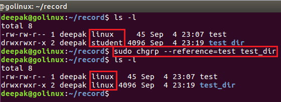 chgrp command to change the group ownership from reference file