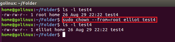 chown command to change owner if current owner is a specific user