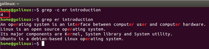 grep -c command output