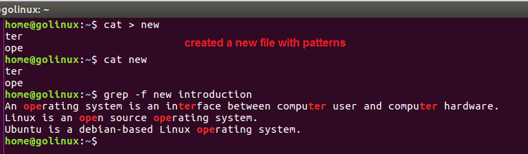 grep -f command output