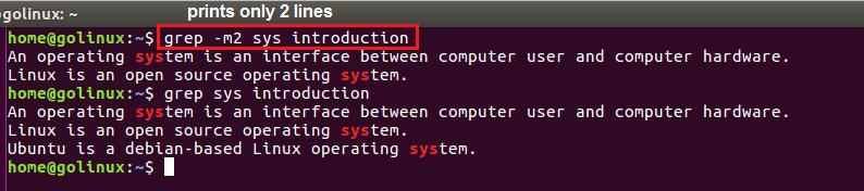 grep -m2 command output