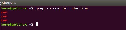 grep -o command output