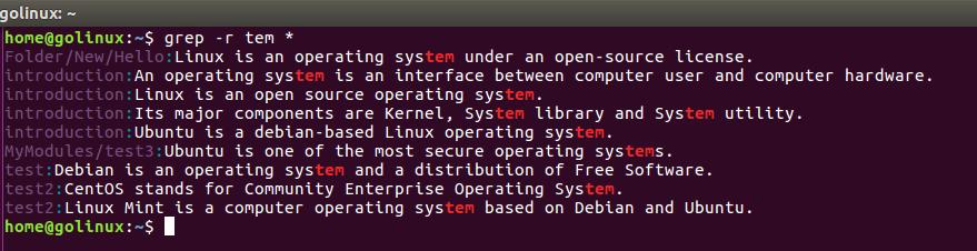grep -r command output