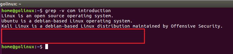 grep -v command output