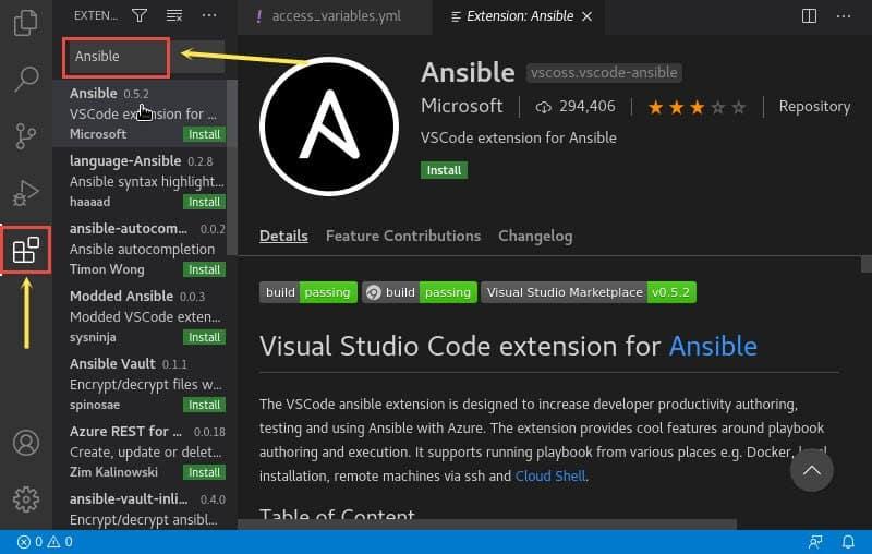Writing Ansible playbook using Visual Studio Code Editor