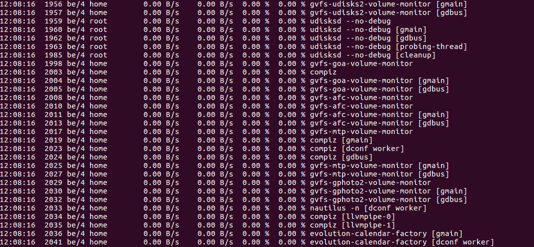output displayed by command iotop -t