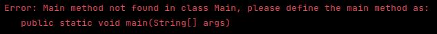 java main method error