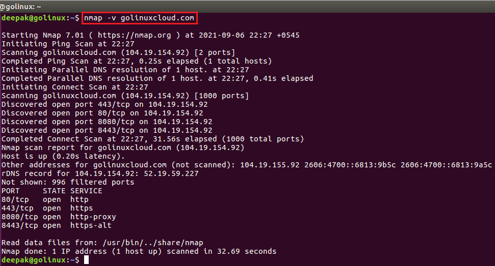 nmap command to get more detailed information about the remote machines