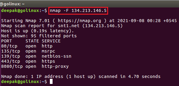 nmap command to do fast scan