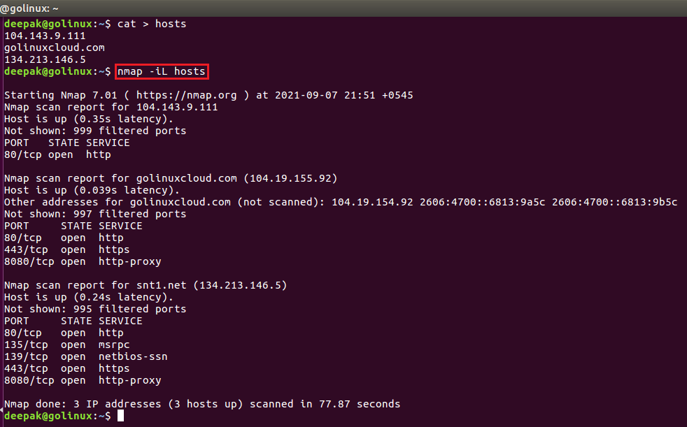 nmap command to scan hosts from a file