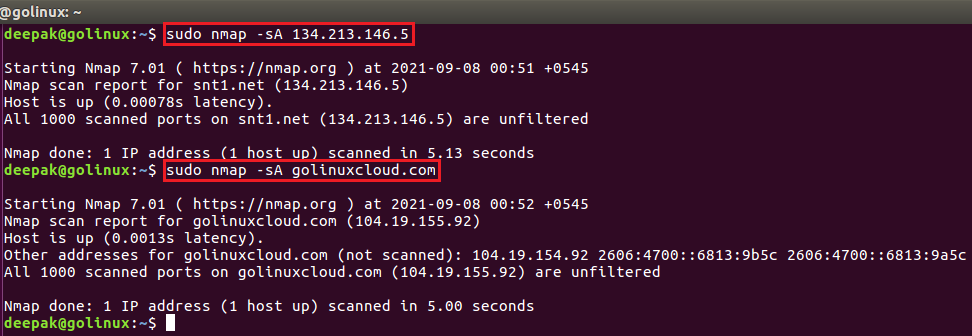 nmap command to detect a firewall