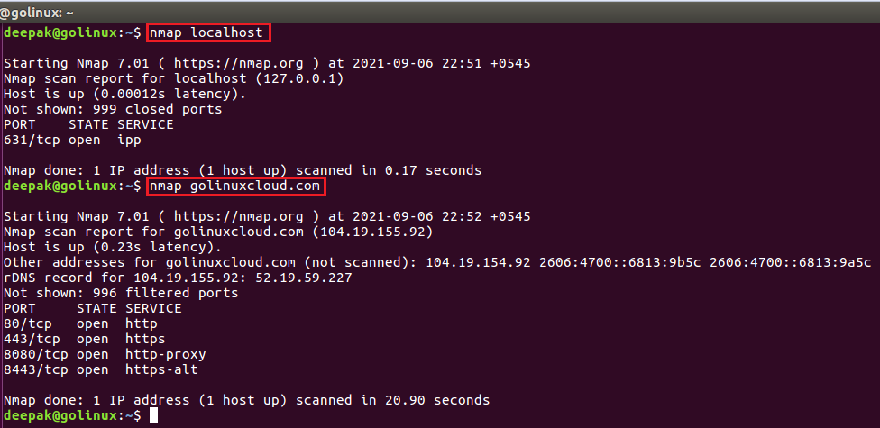 nmap command to scan a system using hostname