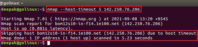 nmap command to give up on target after host timeout