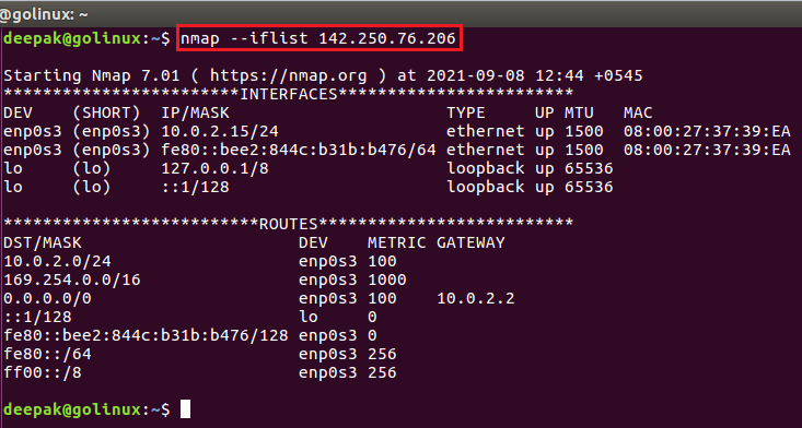 nmap command to print interfaces and routes
