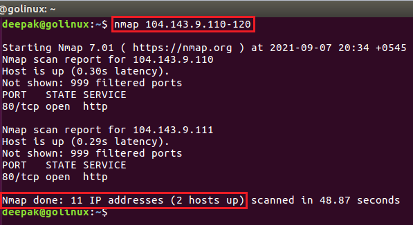 nmap command to scan a specific range of ip address