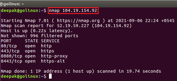 nmap command to scan using IP address