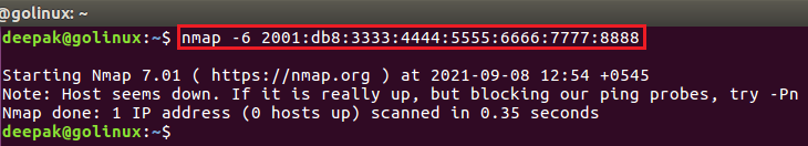 nmap command to enable ipv6 scanning