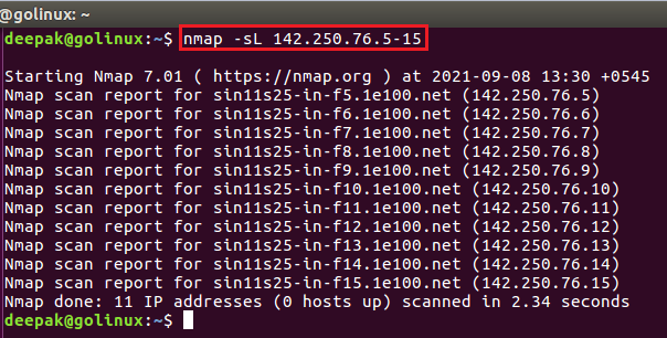 nmap command to list the targets to scan