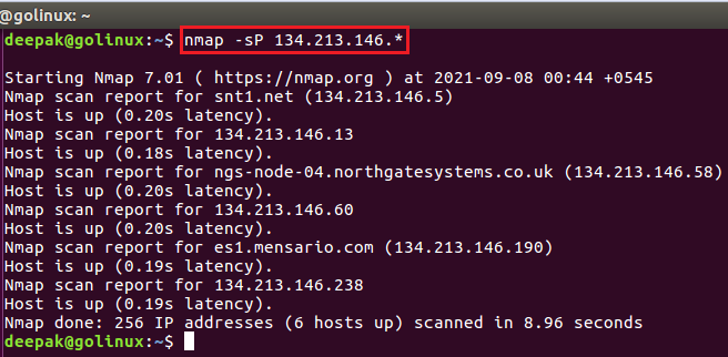 nmap command to find live hosts