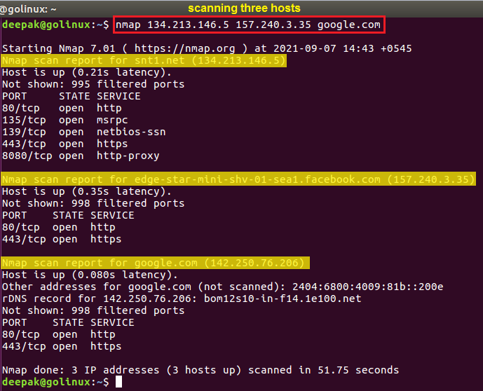 nmap command to scan multiple hosts