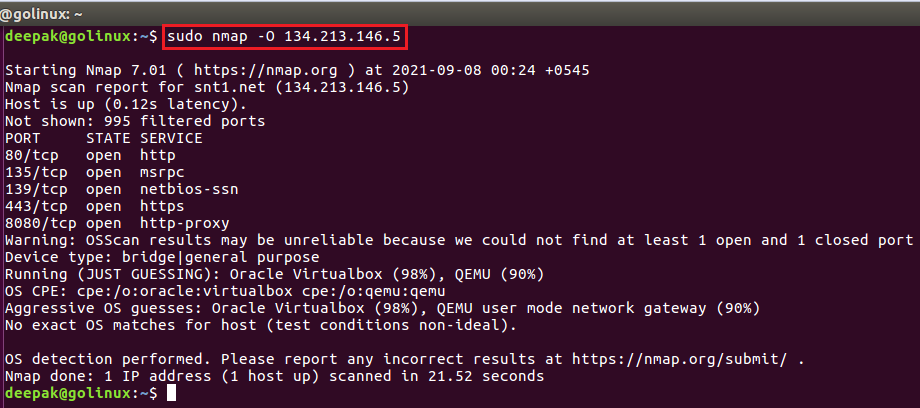 nmap command to detect os