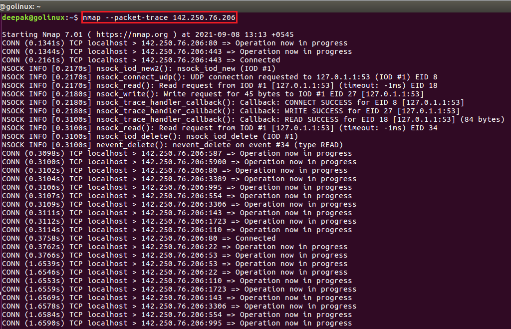 nmap command to show all packets sent and received