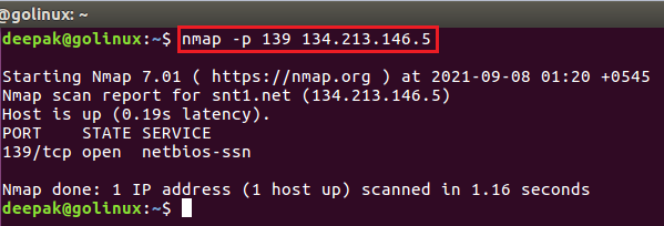 nmap command to scan specific port