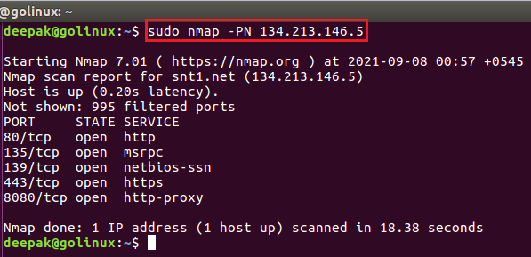 nmap command to check if the host is protected by a firewall
