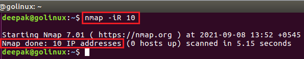 nmap command to scan random ip address