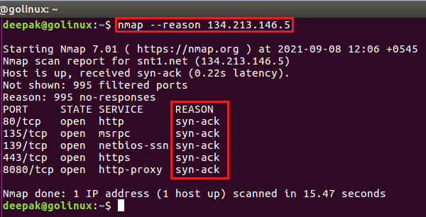 nmap command to show host and port state reasons