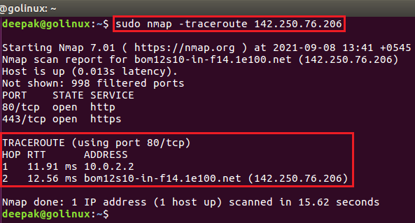 nmap command to trace hop path to each host
