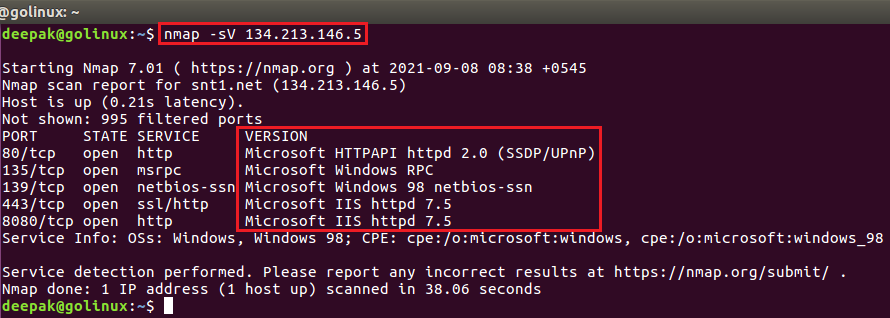 nmap command to detect version