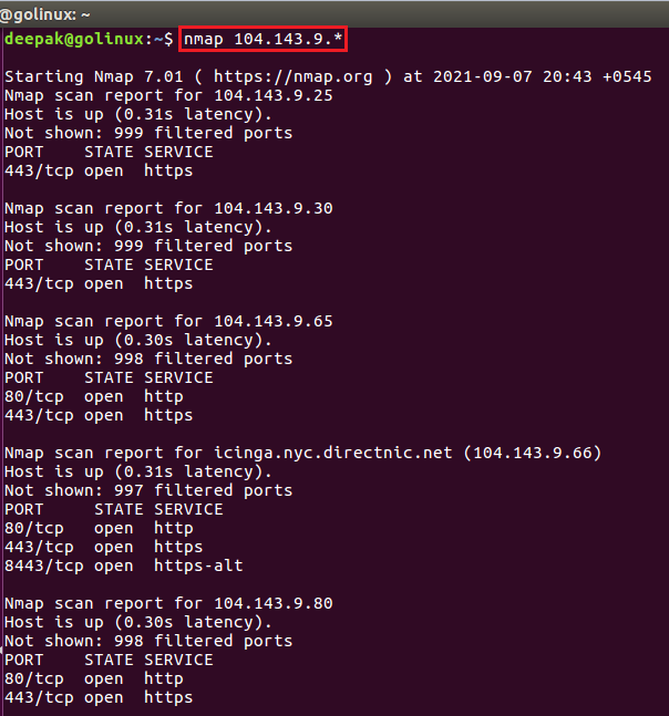 nmap command to scan whole subnet