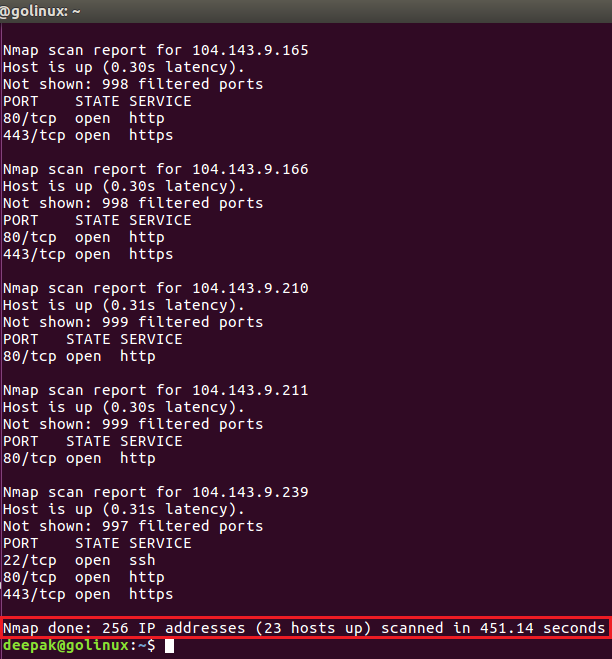 nmap command to scan whole subnets